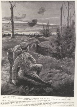 The Rev. W. R. F. Addison Carries A Wounded Man To The Cover Of A Trench Under Heavy Rifle And Machine Gun Fire.