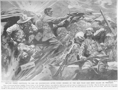 Private Cooke Continues To Fire His Machine Gun After Every Member Of The Gun Team Had Been Killed Or Wounded.