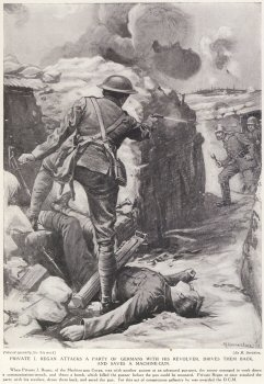 Private J. Regan Attacks A Party Of Germans With His revolver, Drives Them Back, And Saves A Machine Gun.