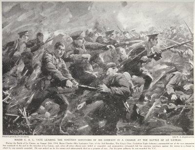 Major C. A. L. Yate Leading The Nineteen Survivors Of His Company In A Charge At The Battle Of Le Cateau.