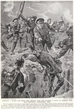 Corporal J. Davies And Eight Men Routing With The Bayonet A Party Of Germans Who Had Previously Surrounded Them.