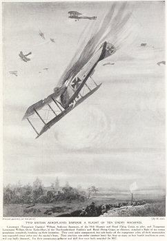 Two British Aeroplanes Disperse A flight Of Ten Enemy Machines.