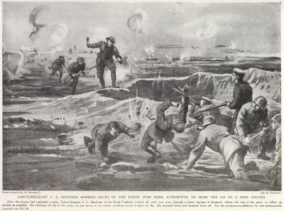 Lance-Sergeant F. L. Hastings Bombing Seven Of The Enemy Who Were Attempting To Seize The Lip Of A Mine Crater.