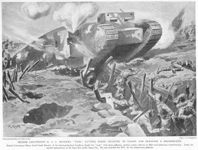 Second Lieutenant H. C. F. Draders Tank Putting Enemy Infantry To Flight And Silencing A Machine Gun.