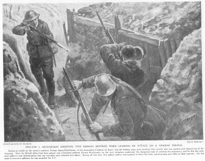 Private J. Hutchinson Shooting Two German Sentries When Leading An Attack On A German Trench.