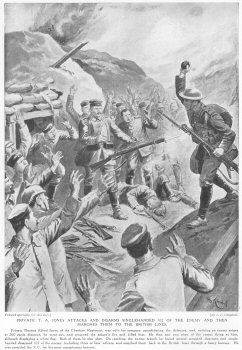 Private T. A. Jones Attacks And Disarms Singlehanded 102 Of The Enemy And Then Marches Them To The British Lines.