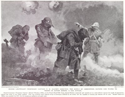 Second Lieutenant (Temporary Captain) E. M. Allfrey Directing The Supply Of Ammunition, Rations And Water To Troops In Action During A Gas Attack.