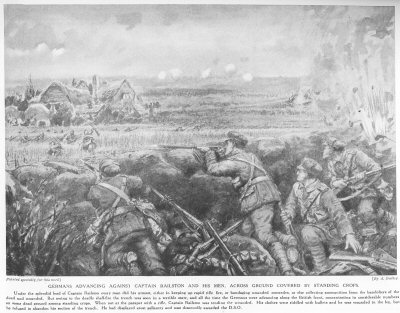 Germans Advancing Against Captain Railston And His Men, Across Ground Covered By Standing Corps.