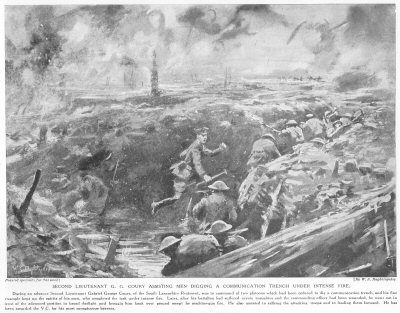 Second Lieutenant G. G. Coury Assisting Men Digging A Communication Trench Under Intense Fire.