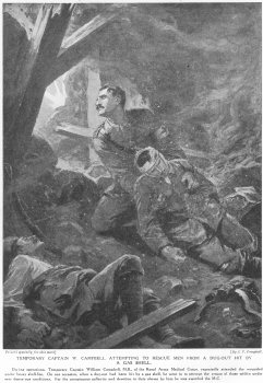 Temporary Captain W. Campbell Attempting To Rescue Men From A Dug Out Hit By A Gas Shell.