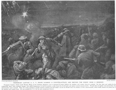 Temporary Captain A. C. T. White Leading A Counter-Attack And Driving The Enemy From A Redoubt.
