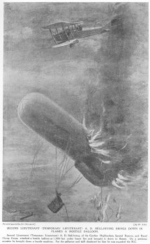 Second Lieutenant (Temporary Lieutenant) A. D. Bell-irving Brings Down in Flames A Hostile Balloon.