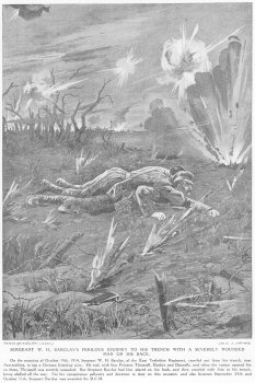 Sergeant W. H. Barclays Perilous Journey To His Trench With A Severely Wounded Man On His Back.