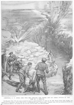 Corporal C. T. Jones And Two Men Driving The Enemy Of Their Trench By The Fire Of A Mortar.