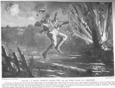 Private J. E. Healey Narrowly Escapes With His Life While Acting As A Messenger.