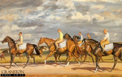 Exercising, Early Morning, Newmarket by Sir Alfred Munnings.