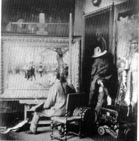 Ernest Crofts in his studio in 1883 working on the painting of Charles 1st on His Way To Execution