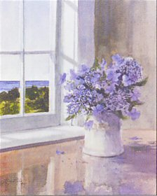 Blue Flowers & Sea View by Ray Ellis
