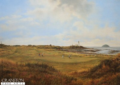 FAR638. Turnberry - Ailsa Course by Mark Chadwick <p>From behind 10th green looking back towards lighthouse, Ailsa Craig and monument.<b><p> Open edition prints. <p> Image size 16.5 inches x 12 inches (42cm x 31cm)