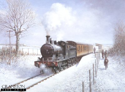 FAR867. Winter Steam by Don Breckon. <p><p><b>This is a sold out edition at the publisher.  We have the last 20 remaining copies.<b><p> Open edition print. <p> Image size 24 inches x 18 inches (61cm x 46cm)
