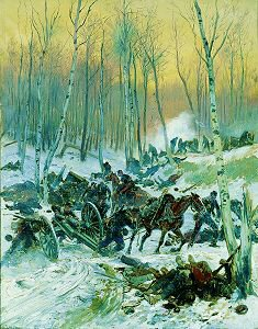 Artillery Skirmish in the Forest during the Siege of Paris by Edouard Detaille. (GS)