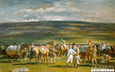 In the Saddling Paddock, March Meet, Cheltenham by Sir Alfred Munnings.