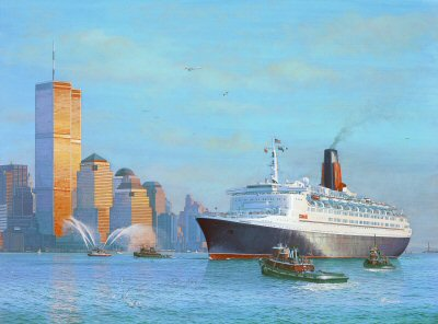 QE2 - Transatlantic Arrival by Gordon Bauwens.