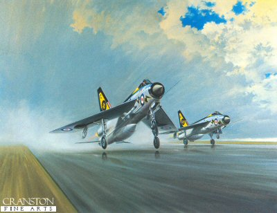 GC165.  Thunder & Lightnings by Gerald Coulson. <p>A pair of English Electric Lightning F3s of 111 squadron depart. Reheat selected, they accelerate rapidly to blast off, cascading spray from a rain-soaked runway. This is the classic interceptor, with superb handling qualities and unmatched climb-to-height performance. The Lightning is the only British-designed and built fighter capable of achieving twice the speed of sound. The RAF took delivery in 1960 and they remained in front-line service until phased out in 1988. The last of the classic single-seat fighters, the Lightning enters the hall of fame alongside the Camel, Fury, Hurricane and Spitfire. The artist was once able to fly a two-seat version- Lightning T5- at just over 1000mph- which he describes as an unforgettable experience. <p><b>Last 80 prints available of this edition, sold out at the publisher.</b><b><p>Signed limited edition of 850 prints. <p> Image size 26 inches x 21 inches (66cm x 53cm)