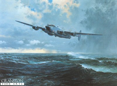 GC222. End of an Era by Gerald Coulson. <p> Entering service in 1951, the Shackleton has been seen worldwide performing anti-submarine and search and rescue duties prior to the installation of the radar necessary for the airborne early warning role in 1972 wit No.8 squadron. Phased out during 1991, and superseded by the Boeing E-3 Sentries, only six remain and are still with No.8 Squadron based at Lossiemouth.  They are occasionally called upon to assist for search and rescue sorties and the dubious honour of operating in the conditions depicted.  After forty years of sterling service the Shackleton deserves a tribute. <p><b>We have the last 6 art prints in this sold out edition.</b><b><p> Signed limited edition of 850 prints. <p> Image size 26 inches x 20 inches (66cm x 51cm)