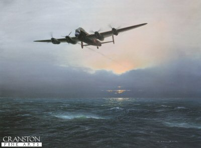 GC3.  Alone at Dawn by Gerald Coulson. <p>Heavily damaged by flak and with one engine out, a Lancaster slowly makes its way home far behind the main force.<b><p>Signed by Flying Officer Bill North (deceased), <br>Air Commodore D M Strong CB, AFC (deceased), <br>Squadron Leader B A Jimmy James MC (deceased), <br>Marshal of the Royal Air Force Sir Michael Beetham GCB CBE DFC AFC FRAeS (deceased) <br>and <br>Group Captain Drane Lowe, CBE DFC AFC. <p>Signed limited edition of 500 prints, with 5 signatures. <p> Image size 24 inches x 17 inches (61cm x 43cm)