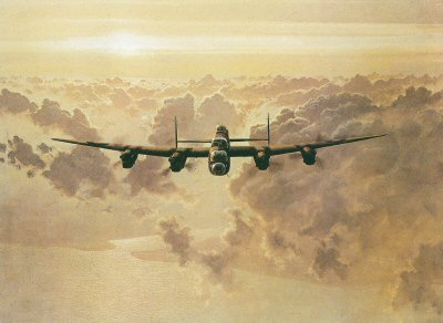 GC0302C. Outbound Lancaster by Gerald Coulson. <p>An all time classic image of the Lancaster bomber of Bomber command at altitude crossing the coast on its way to another bombing mission in Europe.  In this atmospheric classic image, Gerald Coulson has shown this stalwart of the Royal Air Forces Bomber Command during the second world war.  A superb partner painting to the other classic Gerald Coulson image,  Off Duty Lancaster. <b><p>Signed by Flt Lt Don Briggs DFM,<br>Warrant Officer Harry Irons DFC, <br>Warrant Officer Frank Stone<br>and<br>Warrant Officer John Morrison. <p>RAF Edition of 50 signed prints, signed by the artist Gerald Coulson. <p>Image size 30 inches x 23 inches (76cm x 58cm)