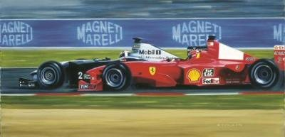 GC564. Au Revoir by Gerald Coulson <p> In a breathtaking manoeuvre David Coulthard in the McLaren MP4-15 Mercedes overtakes Michael Schumacher at Adelaide Corner and wins the French Grand Prix. Magny-Cours, 2 July 2000. <p><b>Published in 2000, and sold out at the publisher, we have the last remaining 70 copies of this print.<b><p>Signed by <a href=signatures.php?Signature=1811>David Coulthard</a>. <p> Signed limited edition of 750 prints.<p>  Image size 26 inches x 13 inches (66cm x 33cm)