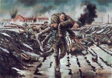 Sergeant John McAulay, 1st Battalion Scots Guards Winning the VC at Fontaine Notre Dame, France 27th November 1917 By David Rowlands. (GS)