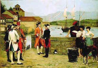 Embarquement de Lafayette a Passages Pour Son Premier Voyage en Amerique 1880 by Wenceslao de la Guardia. (GL)