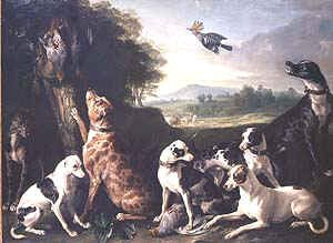 Hounds with Game in a Landscape, A Hoopoe Flying Over by Alexandre-Francois Desportes. (GS)