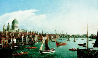 The Thames Looking Towards London Bridge with the Royal Barge  by William James. (GL)
