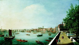 View of the Thames from Adelphi Terrace  by William James. (GS)