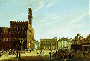 Piazza della Signoria, Florence by Giuseppe Gherardi. (GL)