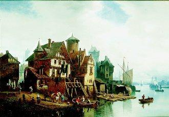 A Port Scene by Hermann Meyerheim. (GS)
