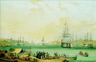 English Fleet in the Harbour of Valetta, Malta by Schranz. (GL)