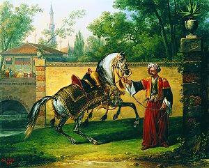 The Arab Stallion Gazal, 1824 by Carl Vernet. (GS)