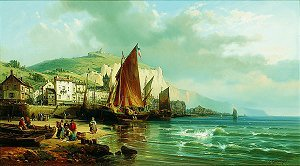 A View of Yport, Normandy by Charles Euphrasie Kuwasseg Jr. (GS)