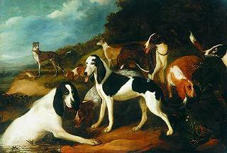 Hounds in a Landscape by Adriaen Cornelisz Beeldemaker. (GS)