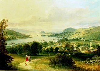 Dumbarton Rock From Bowling, 1865 by Thomas Dudgeon. (GL)