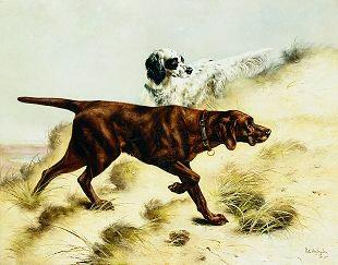 Two Dogs, 1897 by Piet Van Engelen. (GS)