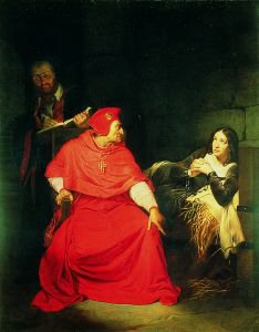 Joan of Arc Being Interrogated in Prison by Cardinal Henry Beaufort, Bishop of Winchester by Paul Delaroche (GL)