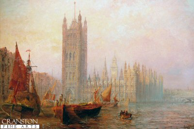 The Houses of Parliament, London by Claude T Stanfield Moore. (GL)