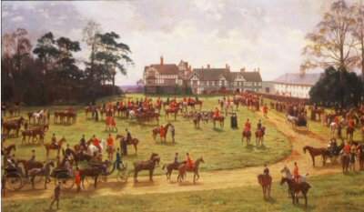 The Cheshire Hunt: The Meet at Caverley Hall by George Goodwin Kilburne. (GS)