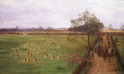 The Cheshire Hunt, Breaking Cover by George Goodwin Kilburne. (GS)
