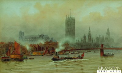 Westminster and the Houses of Parliament from the River by the Reverend Sir Hubert J Medlycott. (GL)